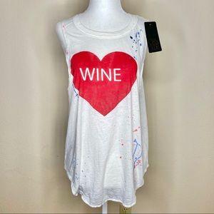 Chaser Heart Wine Paint Splatter Tank Medium NWT